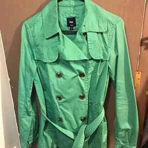 Gap belted green short trench coat